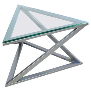Triangular Gun Metal Side Table
