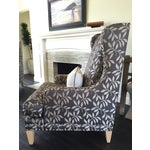 Image of Contemporary Custom Gray Club Chairs - A Pair
