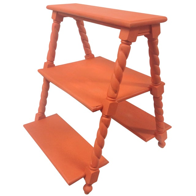 Image of Orange Painted Three Tiered Stand