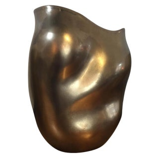 Bronze & Red Sculptured Vase