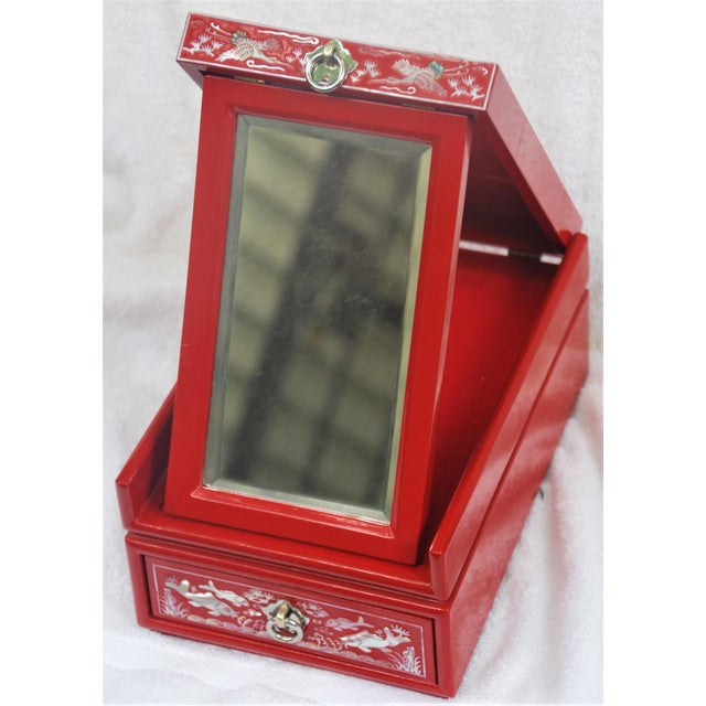 Red Lacquered Asian Jewelry Box - Image 4 of 9