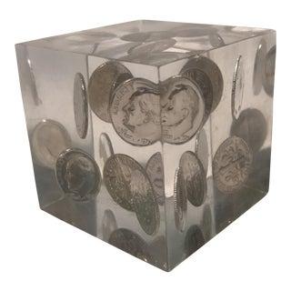 Vintage Lucite Coin Cube