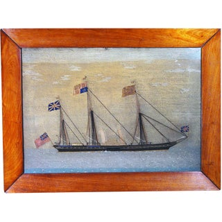 British Sailor's Woolwork Picture of Royal Yacht, HMY Victoria and Albert II, Circa 1855-1865.