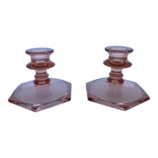 Pink Depression Glass Candle Holders - a Pair