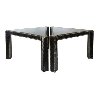 20th Century Regency Style Lacquered Parchment and Studs Side Tables, Pair