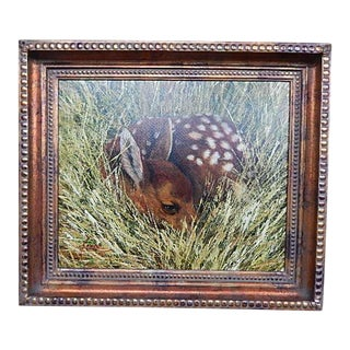 Contemporary Painting on Canvas Fawn in the Field, Signed