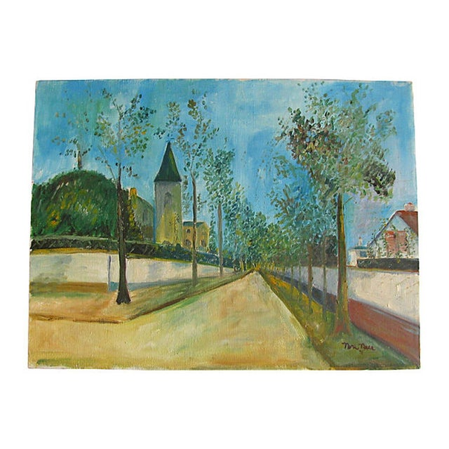Image of Vintage French Village Painting