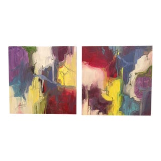 """Kelly O'Neal """"Primary Colors"""" Diptych Painting - A Pair"""