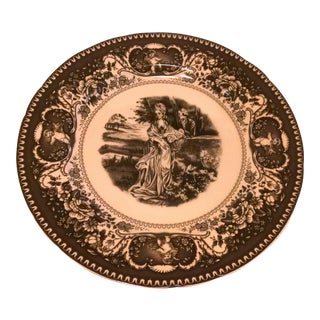 Black & Cream Transferware French Countryside Toile Large Plate