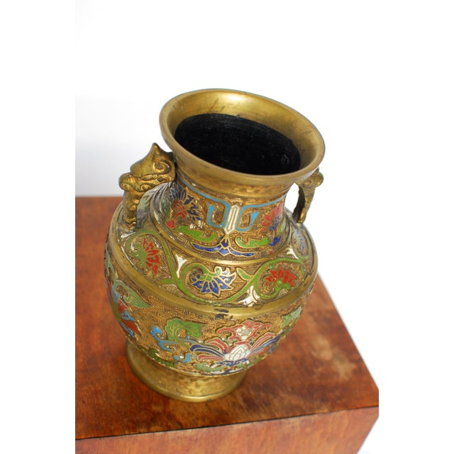 Asian Champleve Brass Floral Vase - Image 3 of 5