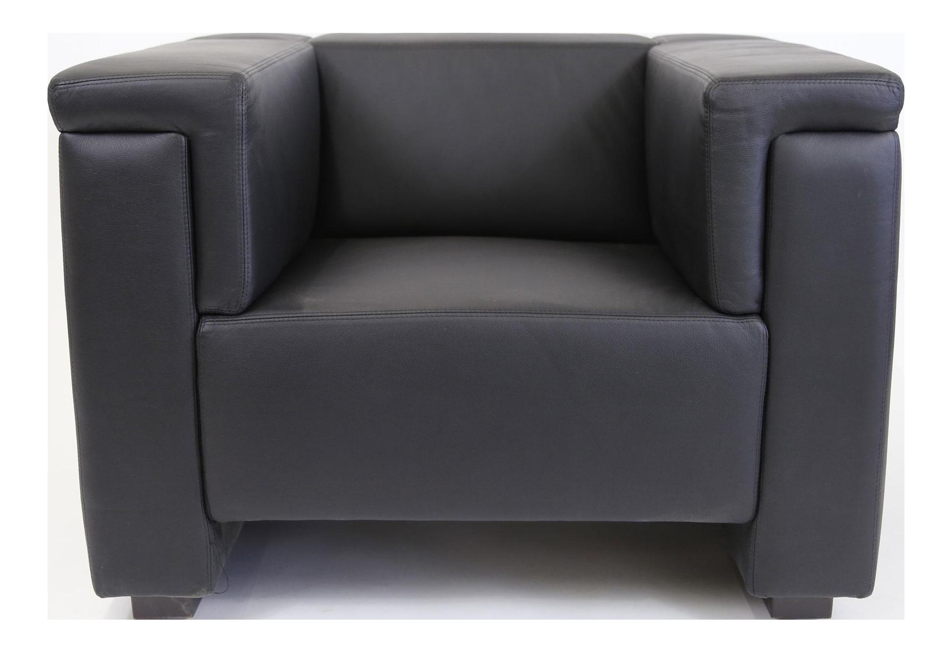 brazilian modern mannes black leather club chair - Leather Club Chairs
