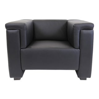 Brazilian Modern Mannes Black Leather Club Chair