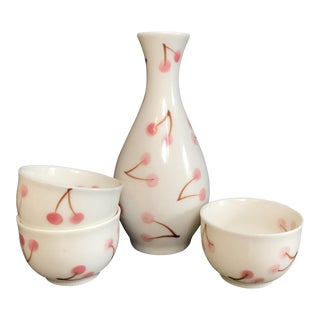 Pink Cherry Painted Porcelain Sake Set