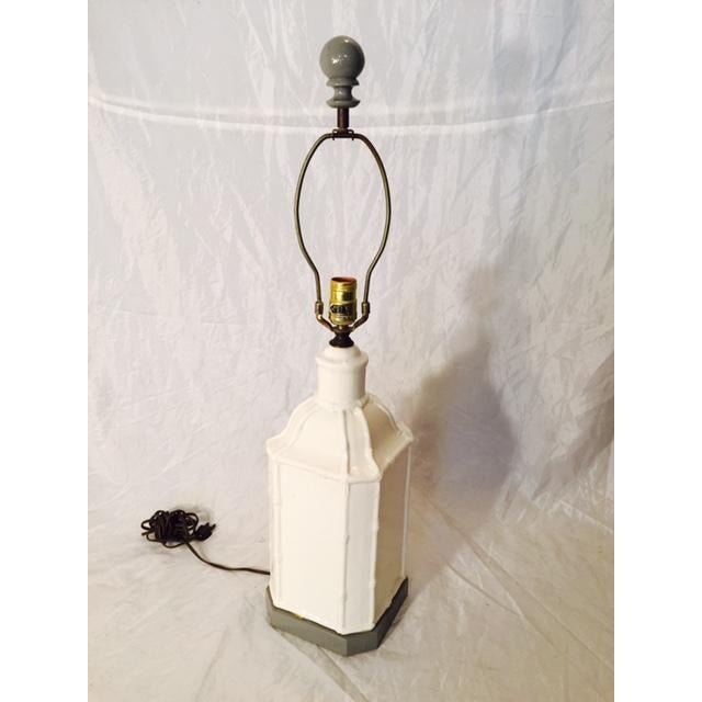 Hollywood Regency Gray Paint & White Pagoda Lamp - Image 2 of 5