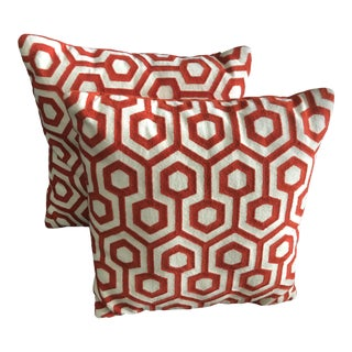 """18"""" Terra Cotta Geometric Pillows - a Pair"""