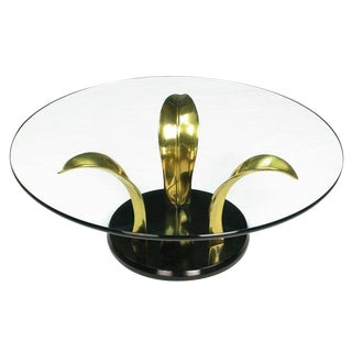 Black Lacquer & Brass Palm Leaf Cocktail Table