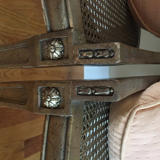 Antique French Style Upholstered Cane Chairs - A Pair - Image 5 of 7