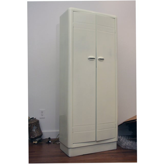 Image of 1930s Glossy Pale Green Steel Cabinet