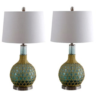 Green Glass Table Lamp with Ivory Shade - A Pair