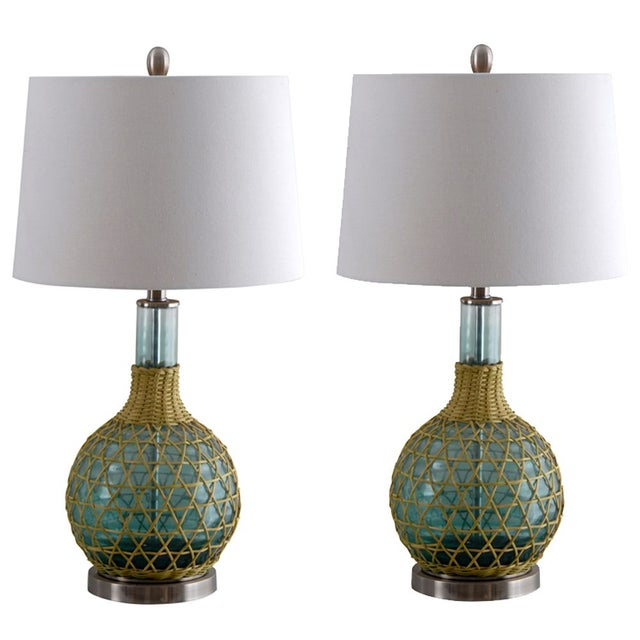 lighting table lamps green glass table lamp with ivory shade a pair. Black Bedroom Furniture Sets. Home Design Ideas