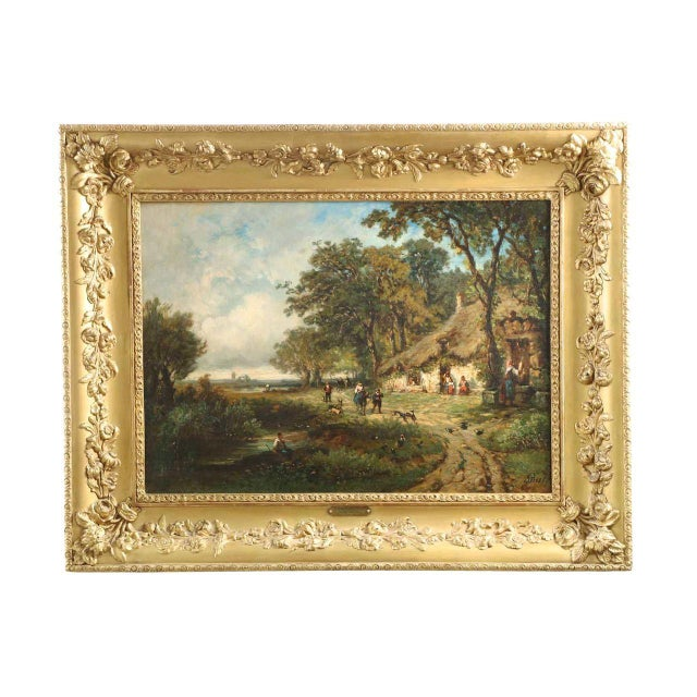 Vintage French Barbizon School Landscape Painting of Village - Image 1 of 10
