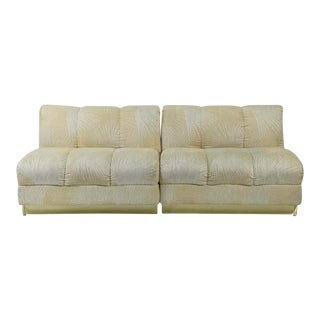 Mid Century Modern Brass Base Cream Sofa Set - A Pair