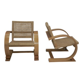 Mitchell Gold Audoux Minet Bentwood Arm Chairs - A Pair