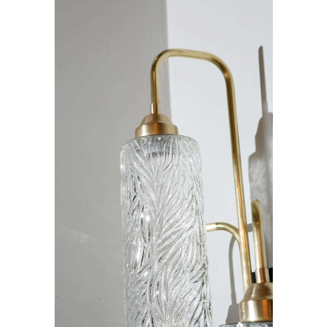 Large Brass Sconces with Vintage German Glass - Image 4 of 6