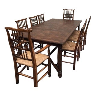 Guy Chaddock Marquetry Trestle Dining Set