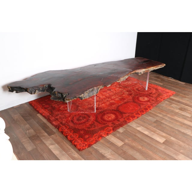 Wood Coffee Table With Lucite Base