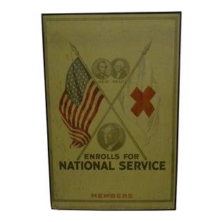 Vintage World War I Enrolls for National Service Members School Poster