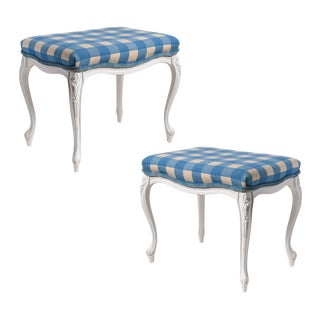French Louis XV Painted Needlepoint Stools - A Pair