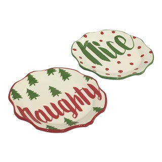 Naughty & Nice Ceramic Appetizer Plates - Set of 4