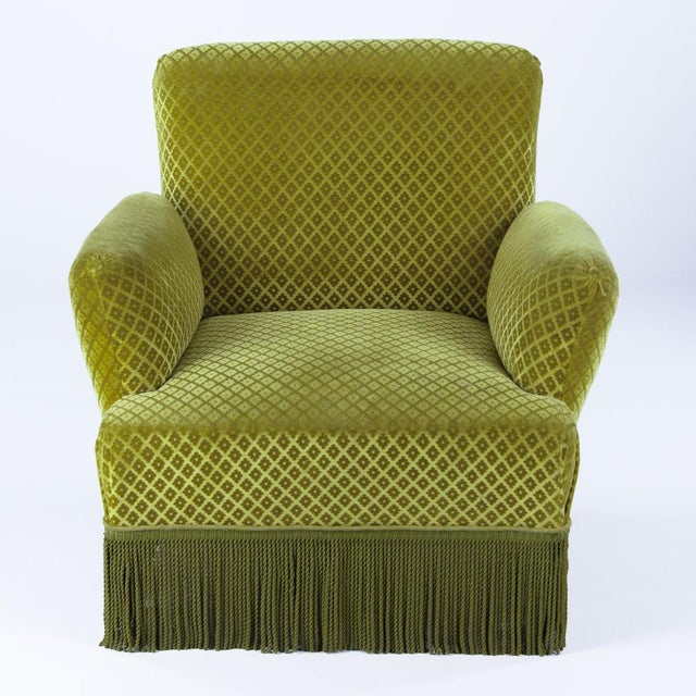 1940s French Green Upholstered Armchairs - A Pair - Image 7 of 10