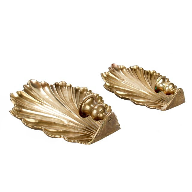 Brass Candle Wall Sconces - Pair - Image 7 of 8