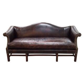 Leather Camelback Sofa with Nailhead Trim