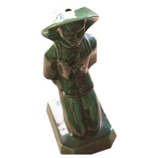 Chinoiserie Emerald Ceramic Peasant Garden Figure