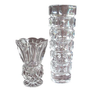 Pressed Glass Vases - A Pair