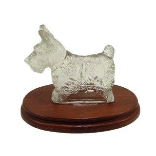 Vintage Glass Scottie Dog Figurine on Oval Wood Base
