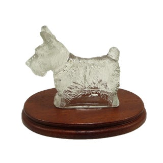 Vintage Glass Scottie Dog Figurine on Oval Wood Base