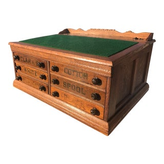 Antique Clarks Oak Spool Chest Calligraphy Writing Desk With Fountain Pen Ink Well