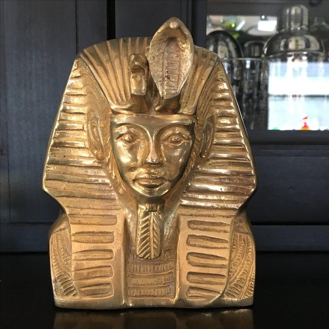 Vintage Solid Brass Egyptian Bust of King Tut - Image 2 of 8