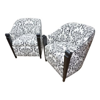 Black & White Art Deco Style Club Chairs - A Pair