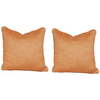 Burnt Orange Chenille Outdoor Pillows - A Pair