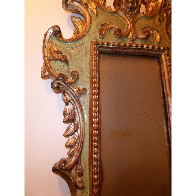 Vintage Rococo Green & Gold Gilt Carved Wood Mirror - Image 7 of 11