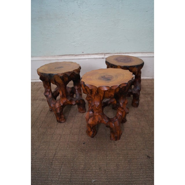 Mid Century Small Tree Stump Carved End Tables - Image 10 of 10
