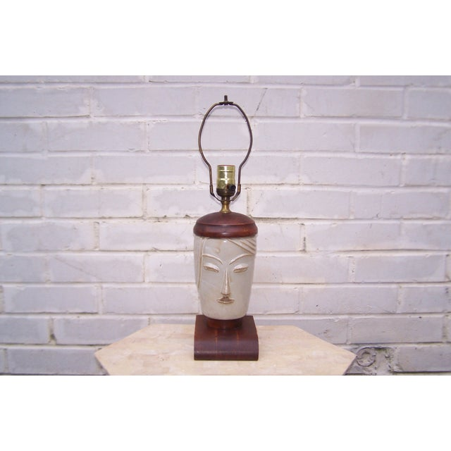 Vintage Art Deco Small Cubist Ceramic & Wood Lamp - Image 2 of 7