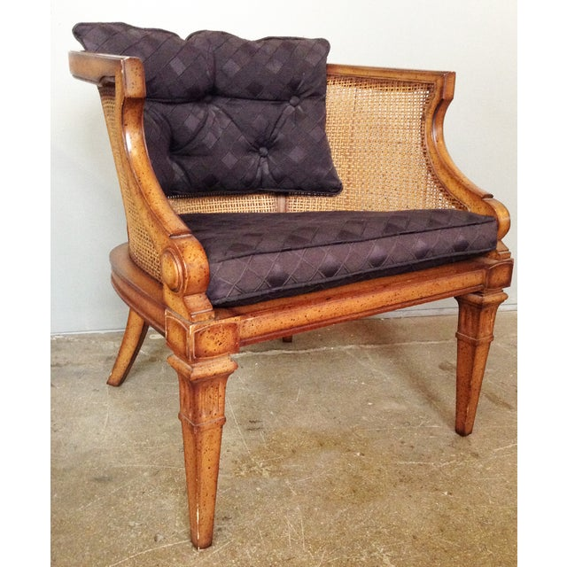 Caned and Upholstered Barrel Back Lounge Chair - Image 2 of 10