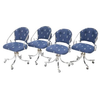 Mid Century Chrome Rounded Back Swivel Chairs - Set of 4