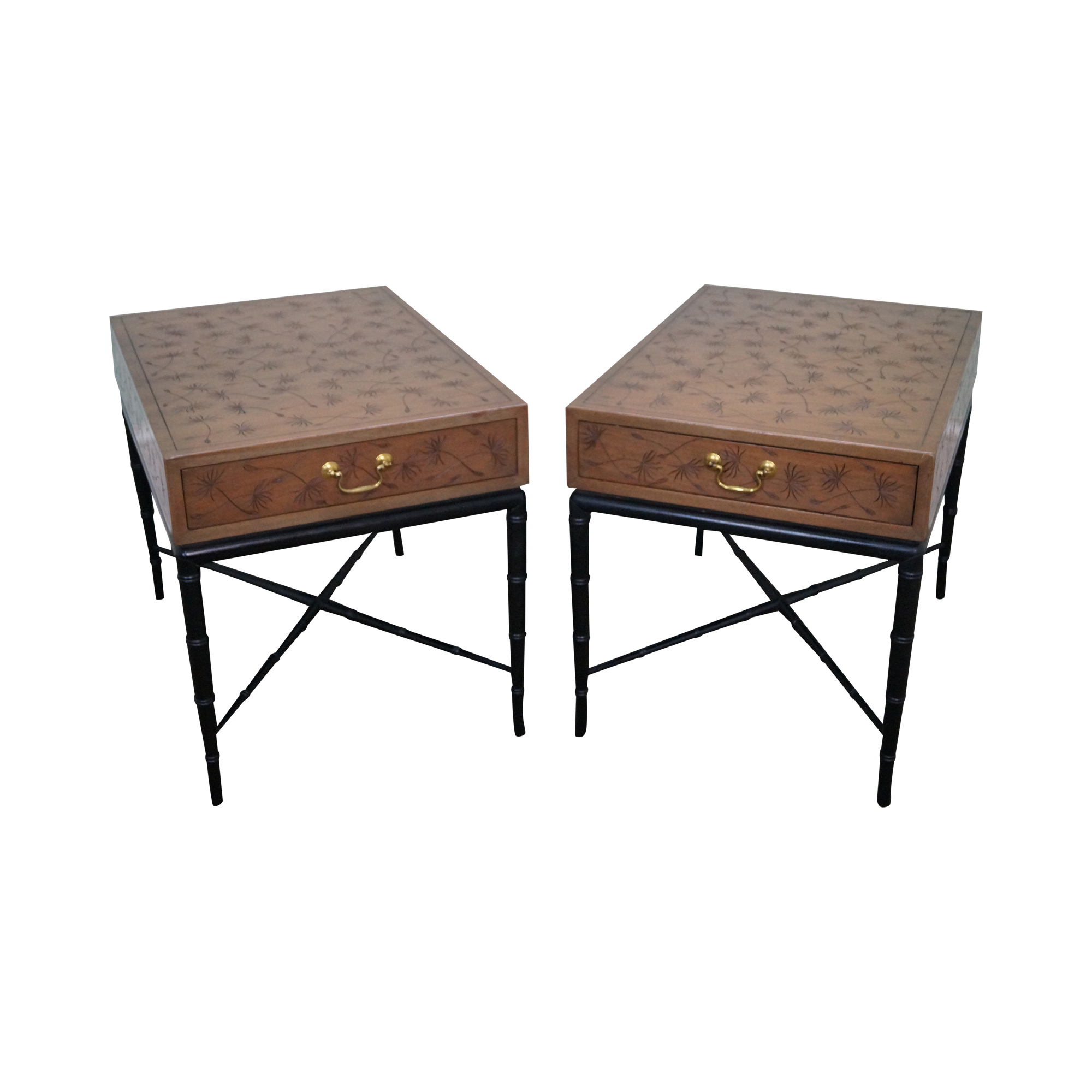Kittinger Thistle Faux Bamboo End Tables   Pair